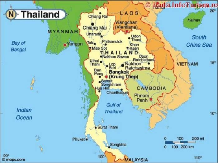 Bản đồ địa lí Thái Lan