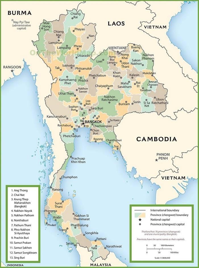 Bản đồ hành chính Thái Lan
